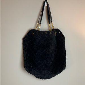 Melie Bianco Black and Gold Faux Fur Hobo Bag